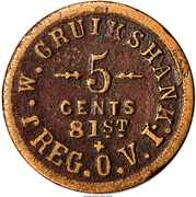 5 Cents - Civil War Sutler Token - J.W. Cruikshank (81st Reg O.V.I.) – obverse