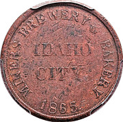 25 Cents - Civil War Merchant Token - Miners Brewery & Bakery (Idaho City, Idaho) – obverse