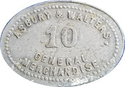 10 Cents - Asbury & Walters – obverse