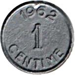 1 Centime (Play money) – reverse