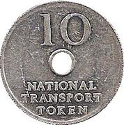 10 Pence - National Transport Token – reverse