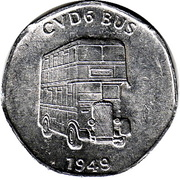20 Pence - National Transport Token (CVD6 Bus 1949) – obverse