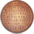 Dollar - California Midwinter Exposition (Official Medal) – reverse