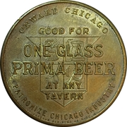 1 Glass Beer - Prima Brewing Company (Chicago, IL.) – reverse