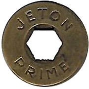 Jeton Prime (with hexagonal hole; inscribed one side) – obverse