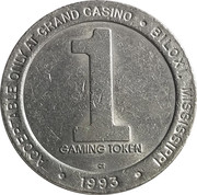 1 Dollar Gaming Token - Grand Casino (Biloxi, Mississippi) – reverse