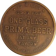 1 Glass Beer - Prima Brewing Company (Racine, WI) – reverse