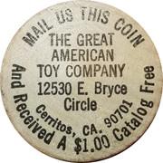 Wooden Nickel - The Great American Toy Company (Cerritos, CA.) – obverse
