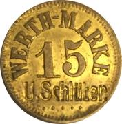 """15 Pfennig (Werth-Marke; Countermarked """"U.Schlüter"""") – obverse"""