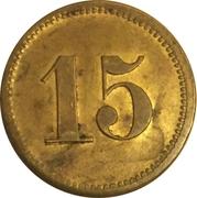 """15 Pfennig (Werth-Marke; Countermarked """"U.Schlüter"""") – reverse"""