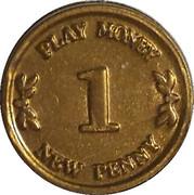 1 New Penny - Castle Bank (Play money) – reverse