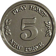 5 New Pence - Castle Bank (Play money) – reverse