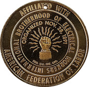 Token - International Brotherhood of Electrical Workers – obverse