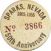 Wooden Nickel - Sparks, Nevada (50th Anniversary) – obverse