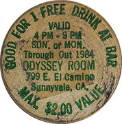 Wooden Nickel - Odyssey Room (Sunnyvale, CA.) – obverse