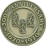 Medal - 300th Anniversary Simsbury Connecticut – reverse