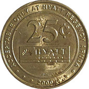 25 Cent Gaming Token - Casino Copa Cabana (Hyatt Regency Aruba) – reverse