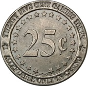 25 Cent Gaming Token - Gold Star Casino – reverse