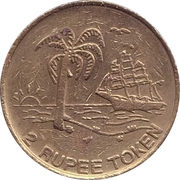 2 Rupee Token - Sun International – obverse