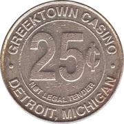25 Cent Gaming Token - Greektown Casino (Detroit, Michigan) – reverse