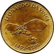 Shell Token - Man In Flight (Leonardo Da Vinci) -  obverse