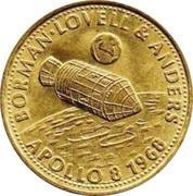 Shell Token - Man in Flight (#19 - Borman, Lovell & Anders, Apollo 8, 1968) – obverse