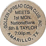 Wooden Nickel - Golden Spread Coin Club (Amarillo, TX) – obverse