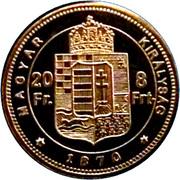 20 Francs / 8 Forint - I. Ferenc József (Replica) – reverse