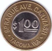 1 Dollar Car Wash Token - Sprague (Tacoma, Washington) – reverse