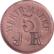 5 Pfennig (Werth-Marke; Copper; Countermarked) – obverse