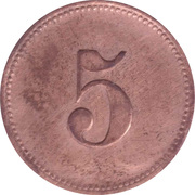 5 Pfennig (Werth-Marke; Copper; Countermarked) – reverse