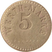 5 Pfennig (Werth-Marke; Brass; 18.2 mm; Large '5') – obverse