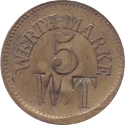 5 Pfennig (Werth-Marke; Brass; 18.0 mm; Couintermarked) – obverse