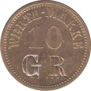 10 Pfennig (Werth-Marke; Brass; 5mm; Countermarked) – obverse