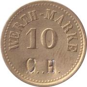 """10 Pfennig (Werth-Marke; Countermarked """"CH"""") – obverse"""