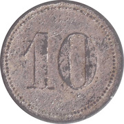 "10 Pfennig (Werth-Marke; Zinc; line of dots; long tail of ""1"") – reverse"