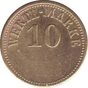 """10 Pfennig (Werth-Marke; Brass; thick """"1"""") – obverse"""