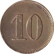 """10 Pfennig (Werth-Marke; Brass; thick """"1"""") – reverse"""