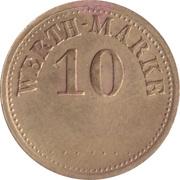 """10 Pfennig (Werth-Marke; Brass; thin """"1"""") – obverse"""