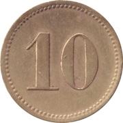 """10 Pfennig (Werth-Marke; Brass; thin """"1"""") – reverse"""