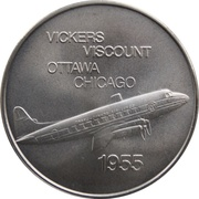 Medal - Inaugural Flight Ottawa - Chicago (Vickers Viscount) – obverse