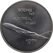 Medal - Inaugural Flight Montreal - Miami (Boeing 747) – obverse