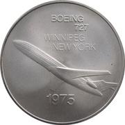 Medal - Inaugural Flight Winnipeg - New York (Boeing 727) – obverse