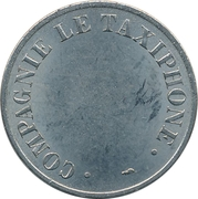 Telephone Token - Compagnie le Taxiphone (24 mm;  with dots around text) -  reverse