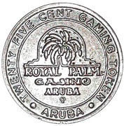 25 Cent Gaming Token - Aruba Royal Palm Casino – obverse