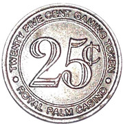 25 Cent Gaming Token - Aruba Royal Palm Casino – reverse