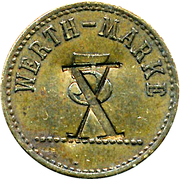 5 Pfennig (Werth-Marke; Brass; underlined '5'; Couintermarked) – obverse