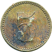 5 Pfennig (Werth-Marke; Brass; underlined '5'; Couintermarked) – reverse