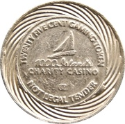 25 Cent Gaming Token - 1000 Islands Charity Casino – obverse