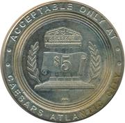 5 Dollar Gaming Token - Caesars (Atlantic City) – reverse